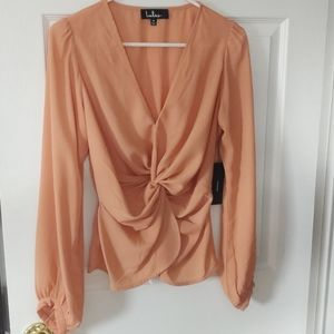 NWT Long sleeve front tie blouse